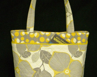 Soft  Gray and Beige Tote with Mustard Accent