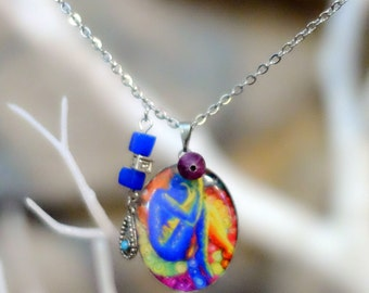 Long necklace stainless steel, necklace pattern character, beads, charms, Locket resin