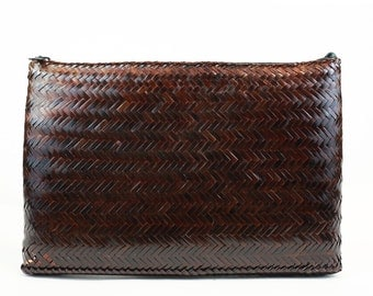 Sale /// Vintage Brown Woven Purse/Clutch