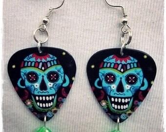 Gitarren-Plektrum / Sugar Skull Ohrringe