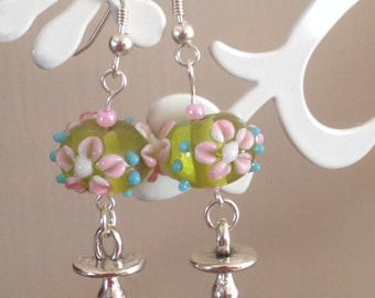 BDSM earrings,Baby Girl,Little Girl,submissive,Sterling Silver Hooks,Glass Lampwork Beads,Dummy/pacifier charms,pink flowers,kinky,fetishh