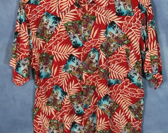Vintage Hawaiian Shirt // Pinup // Red Floral Palm Leaves Fronds // ME Sport // Aloha // Tropic