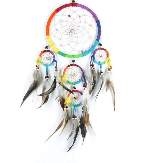 Rainbow Dreamcatcher, Suede Dreamcatcher, Web, Wall Hanging, Dreamer, Home Decor, Spiritual, Meditation, Boho, Bohemian, Gypsy, Feathers