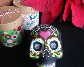 Day of the Dead hand painted folk skull