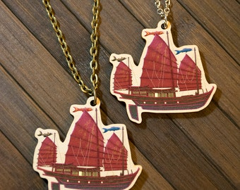 Junk Ship Wooden Charm Necklace