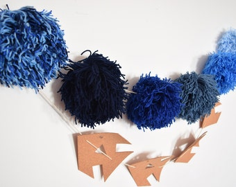 Fish Cork, Large Blue Pom Pom, Garland-Banner