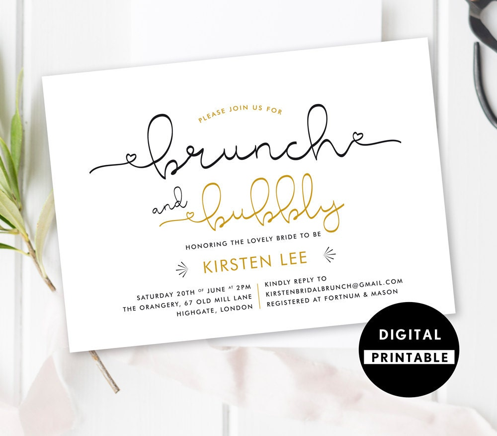 Bridal Shower Invitation Brunch And Bubbly By