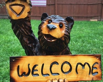 WAVING WELCOME BEAR chainsaw carved garden handmade sculpture rustic