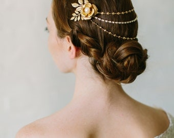 VIOLET bohemian floral draped clip, boho gold crystal bridal headpiece, romantic chain wedding hairpiece