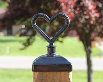 Fence Post Cap, Decorative heart for 4x4 fence and deck post top, Mailbox post cap
