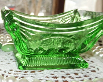 Green or Purple Salt Cellar Pattern Glass Nepolean's Bed Shape