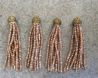champagne with gold cap pave crystal tassel jewelry making wholesale