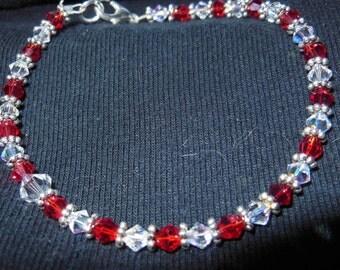 Red and white 4mm swarovksi crystal bracelet
