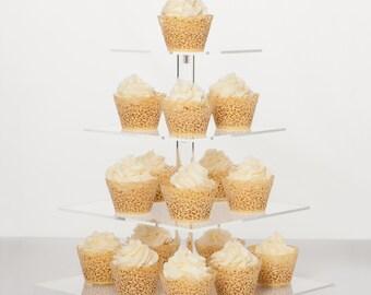 Cupcake Stand - Premium Cake Display Tower Rack - 4 Tier Square Acrylic Wedding Dessert Server