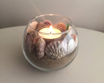 Beach Candle Holder/ Nautical Candle Holder/ Sand Decor/ Sea Shell Candle Holder/ Coastal Candle Holder/ Ocean Decor/ Nautical Decor