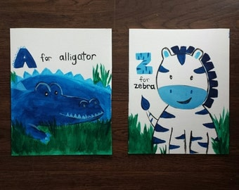 Blue jungle animal wall art