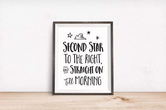 Printable Art, Movie Book Quote, Second Star to the Right and Straight on Till Morning, Motivational Print, Typography Print, Quote Download