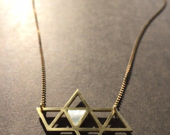 Tetrahedrons unfolded - brass m.o.p. necklace