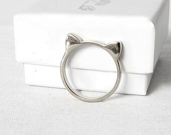 Cat Ears Ring – Cat Ring, Stacking Ring, Kawaii Cat ears Ring, 925 sterling silver Cat ears ring, Friends gift, statement ring, animal ring