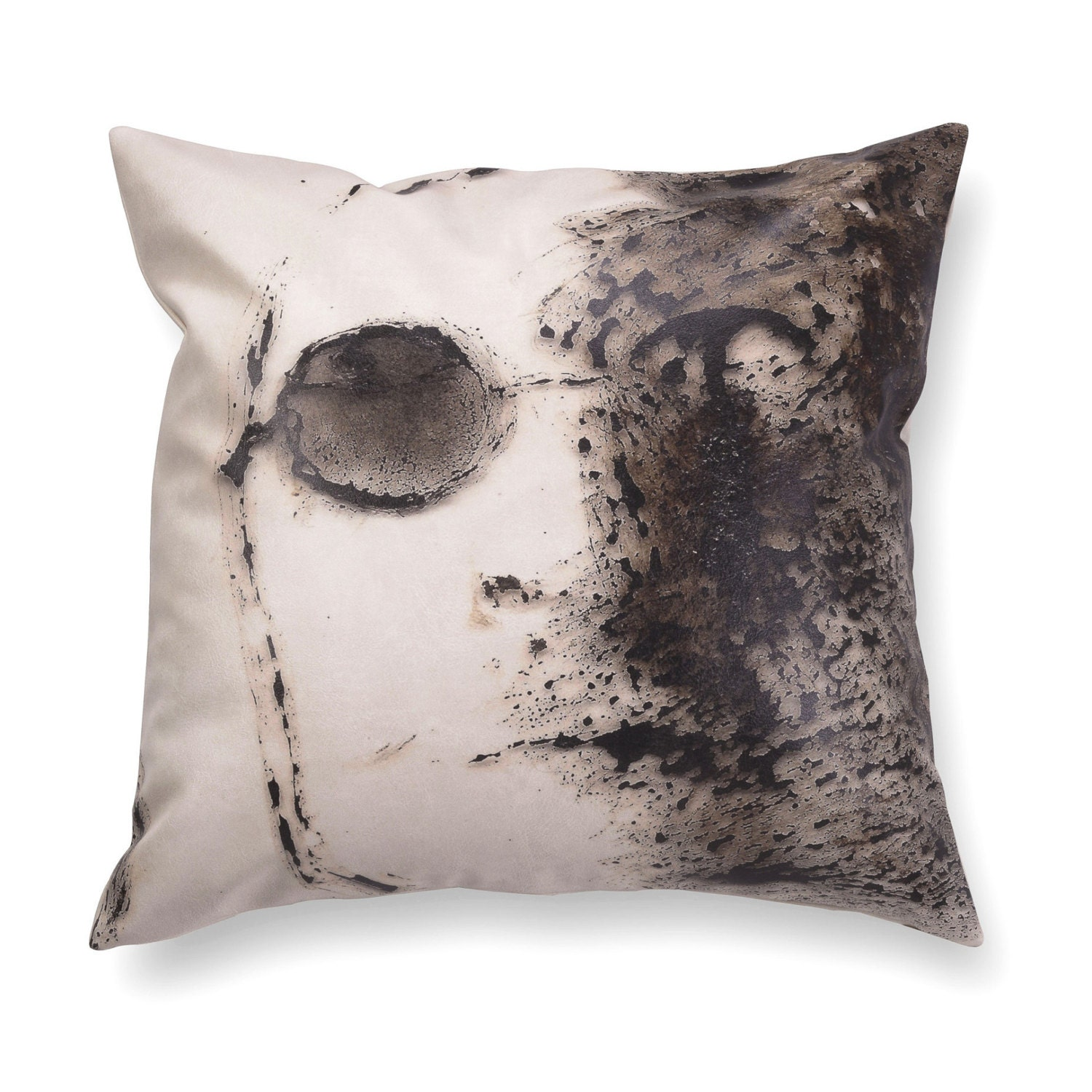 Decorative pillow black and white pillow. leather cushion