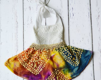 Designer Girls Multi Color Tie-Dye Boho Dress with Lace Top and Gold Accents, toddler dress, girls dress, Birthday Dress