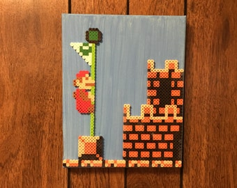 Super Mario Perler Bead On Painted Canvas | Nerdy Collectible | Pixel Art | Nintendo | Bead Sprite | Geeky Gift