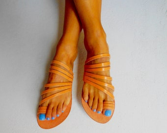 Leather Flat Sandals, Strappy Leather Sandals, Greek Sandals, Natural Tan Leather ''Stella''