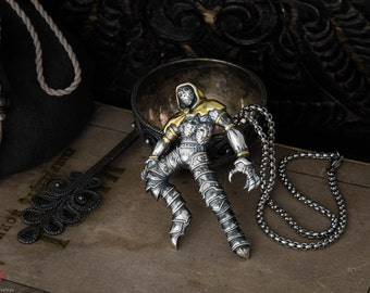 Jack of Blades sterling silver  necklace inspired by Fable, golden hood +50cm steel chain