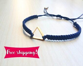 Free Shipping, Geometric Bracelet, Gold Bracelet, Charm bracelet, Geometric Jewelry, Braided Bracelet, Triangle Bracelet, Macramé Bracelet