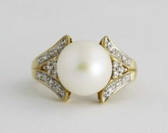 Antique Pearl Diamond Ring, 14k Gold Pearl Ring, Pearl Diamond Ring, Gemstone Jewelry