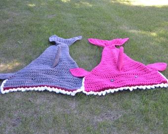 Crochet Shark Blanket Cocoon Lapghan