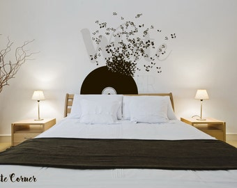 Rta279 Old Vinyl Record Music Flying Notes Dorm Perfect Interior Bedroom  Gift Wall Decal Vinyl Decor