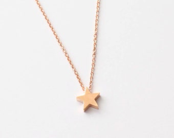 Rose Gold Star Necklace, Dainty Necklace, Tiny Star Necklace, Simple Necklace,Everyday Necklace,Women Necklace,Bridesmaid Gifts, Friend Gift