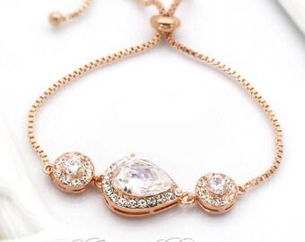 Wedding Bracelet Rose Gold plated Bridesmaid Bracelet Wedding Bracelet Bride Bracelet Wedding Jewelry Bridal Bracelet Bridal Jewelry