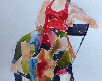 original watercolor painting of girl in colorful skirt