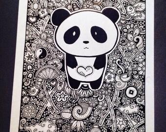 Panda hand drawn Etsy