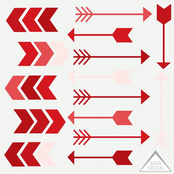 Red Arrow Clipart, Clipart Arrows, Valentine Arrows, Digital Arrows,  Valentineu0027s Day Clipart, PNG Arrow, PNG Files, Small Commercial Ok