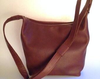 Leather shoulder bag Brown, handmade
