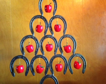 Horseshoe Christmas Tree Ornament Holder Customized with CNC Cut Topper
