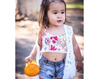 6 mos to 2 Years, 2T Block Print Crop Top, Tutu Crop Top, Hippie Toddler Top, Baby Organic Bikini, Toddler Swim, Toddler Crop Tops