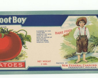 Barefoot Boy Tomatoes Vintage Tomato Can Label