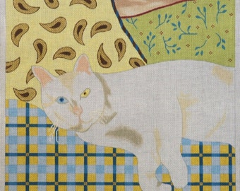 Snowball the Cat handpainted needlepoint canvas