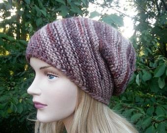 Beige Brown Women Hat. Unique Handmade Chunky knit Hat. Slouchy Knit Beanie. Winter Hat.