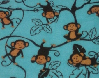 Double Sided Flannel Baby Blanket Monkey