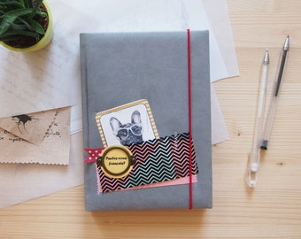 Non-dated planner with french bulldogs pics | hard cover | faux leather