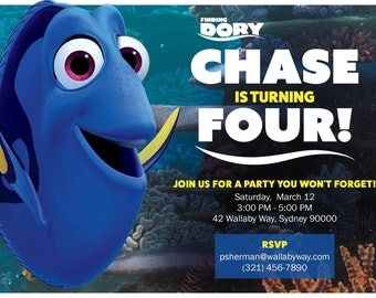 Finding Dory Inspired Birthday Invitation - Personalized Digital File by Hulles