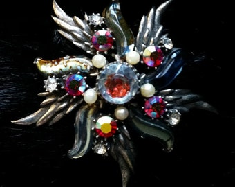 Vintage Florenza Silver and Red AB Rhinestone and Faux Pearl Brooch