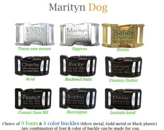 Add on laser engraved personalized buckle for Dog collar or Step in dog harness Choice of gold or silver metal or black plastic buckle