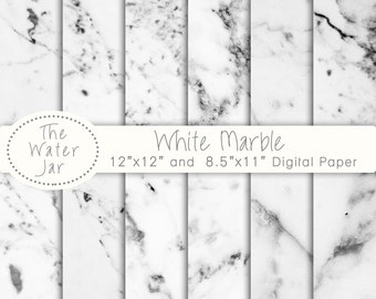 Marble Digital Paper Commercial Use, White marble wallpaper background, Digital Marble Pattern & Texture, White Stone