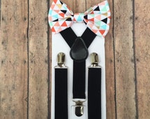 Bowtie & Suspender Set/Colored Triangle Bowtie/ Triangle Bowtie/ Black Suspenders/ Toddler Bowtie/ Toddler Suspenders/ Gold Triangle Bowtie